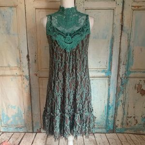 Lace overlay dress mint chocolate